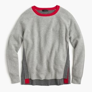 J.Crew Gray Colorblock Crewneck Sweater With Snaps